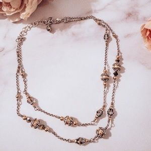 Brighton Double Strand necklace gold ball crystals